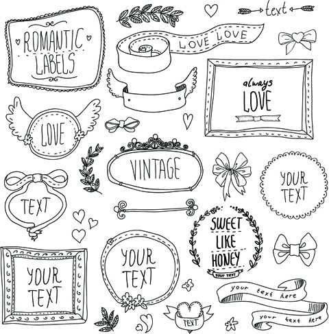 480x487 Hand Drawn Romantic Frame With Ornaments Elements Vector Free