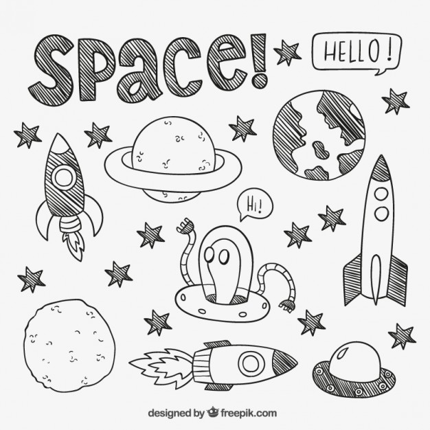 626x626 Hand Drawn Space Elements Vector Free Download