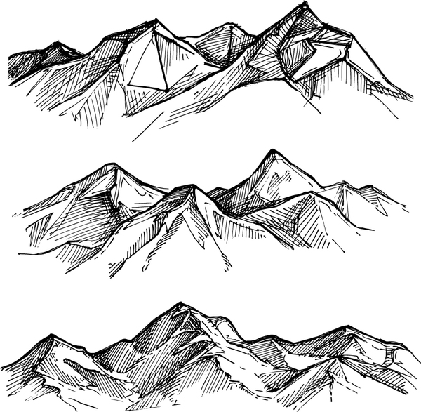 600x587 Sketch Mountains Hand Drawn Vector 03 Free Download
