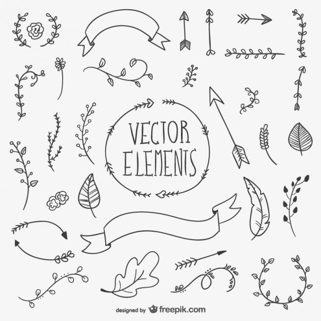 626x626 Black Hand Drawn Boho Elements Vector Free Download
