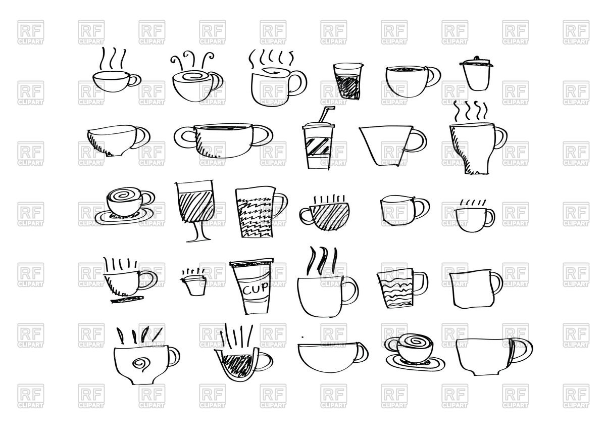 1200x857 Coffee Cup Set, Hand Drawing Vector Image Vector Artwork Of Food