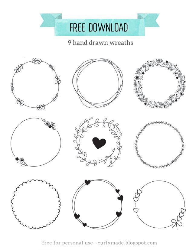 648x827 Free Download Hand Drawn Wreaths Journaling