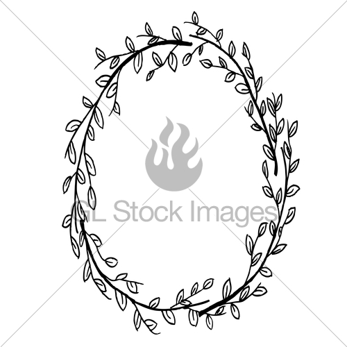 500x500 Hand Drawn Leafy Branch Wreath Vector Gl Stock Images