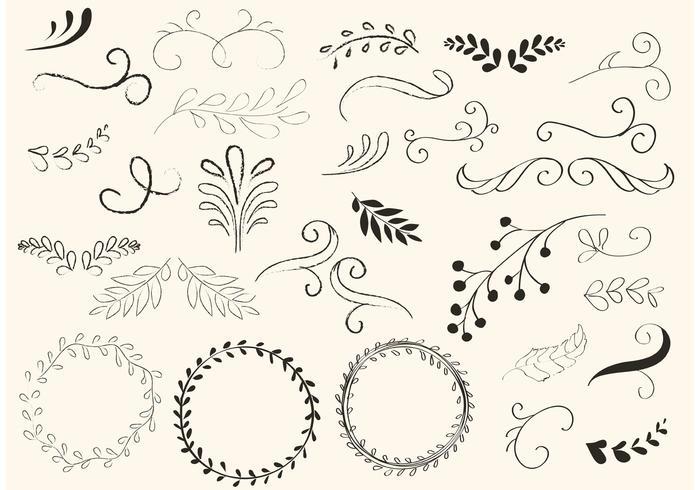 700x490 Hand Drawn Swirls And Wreath Vectors