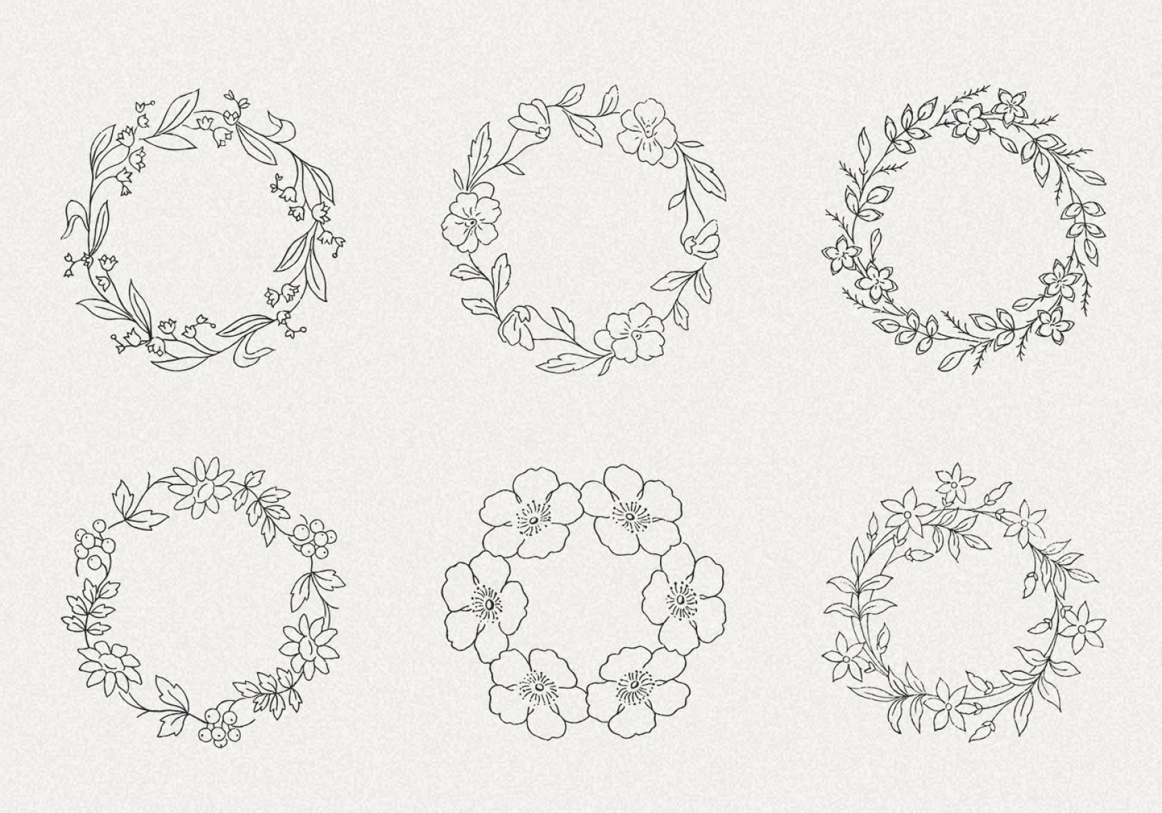 1680x1176 Hand Drawn Wreath Vector Pack Ii Shopatcloth