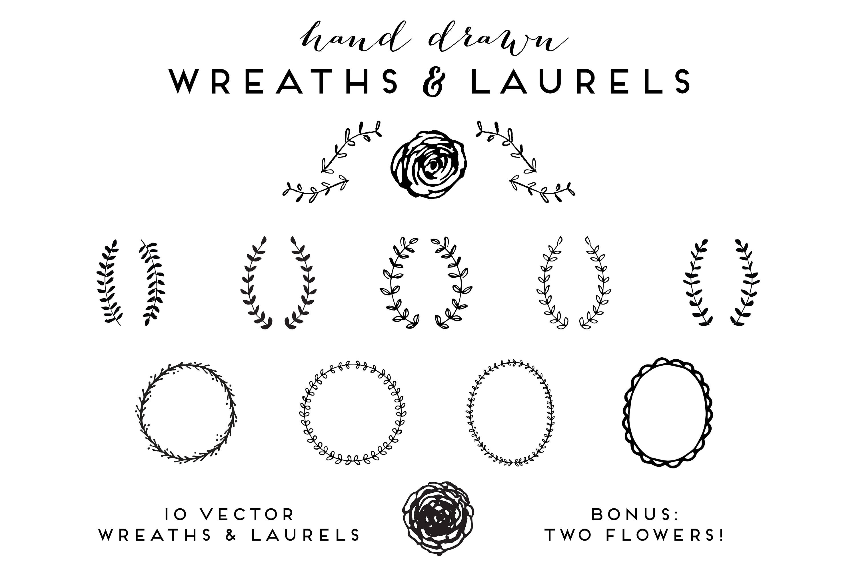 3000x1997 Hand Drawn Wreaths And Laurels Clip Art Vector Illustrations Etsy