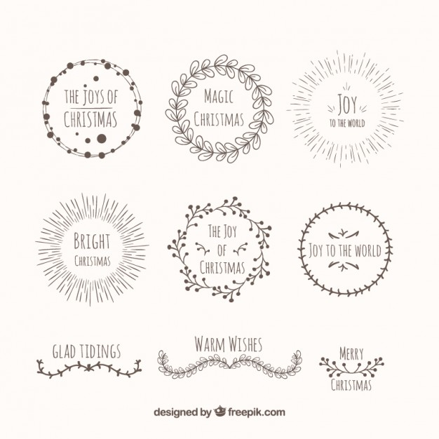 626x626 Hand Drawn Decorative Christmas Wreaths Vector Free Download