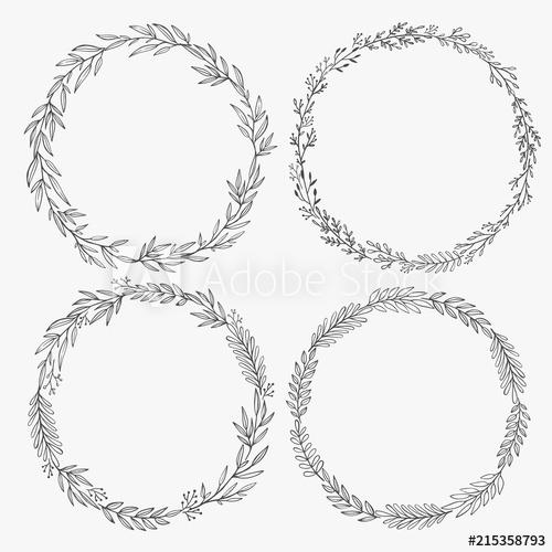 500x500 Hand Drawn Wreaths Vector. Romantic Floral Design Element. Floral