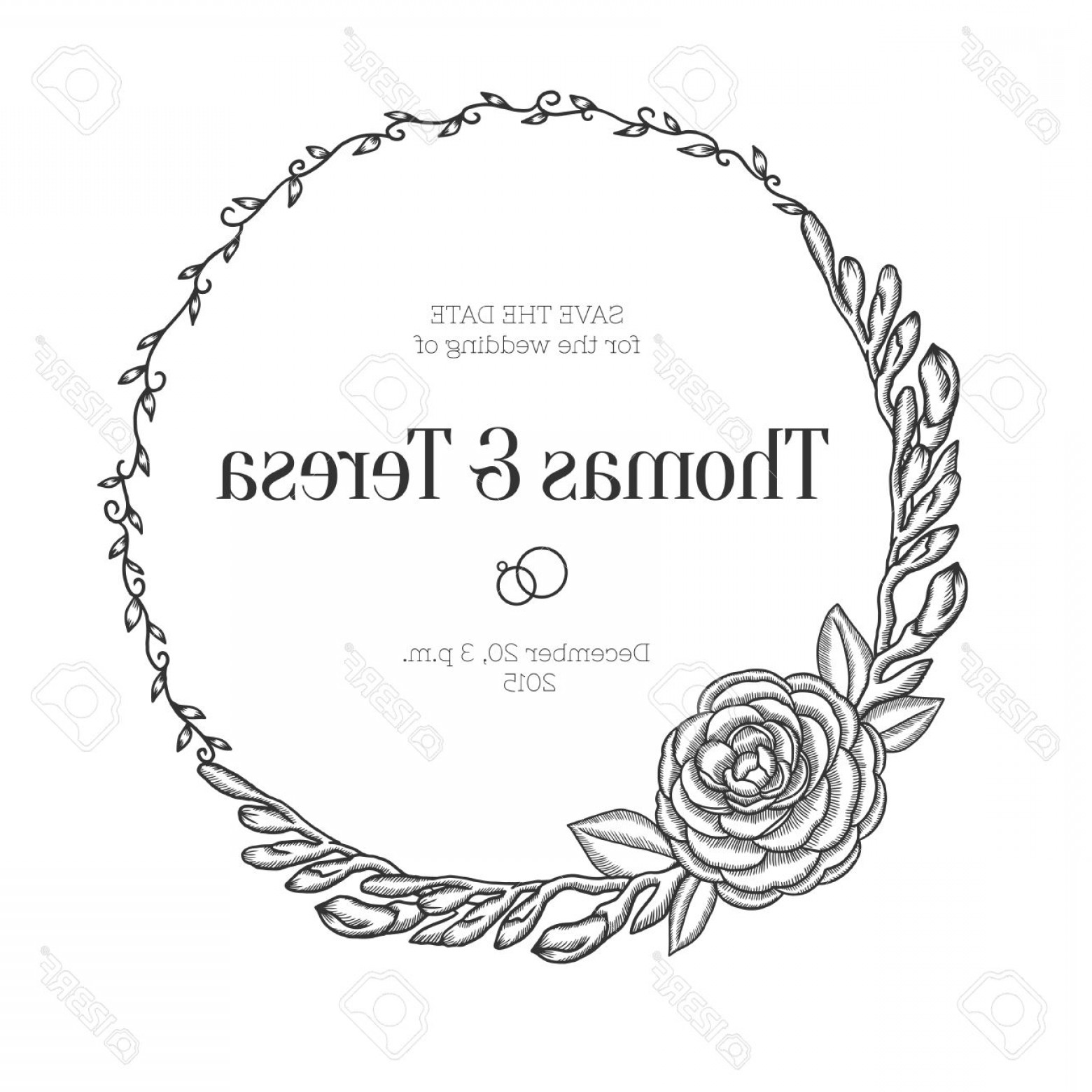 1560x1560 Photostock Vector Hand Drawn Floral Wedding Invitation Vintage