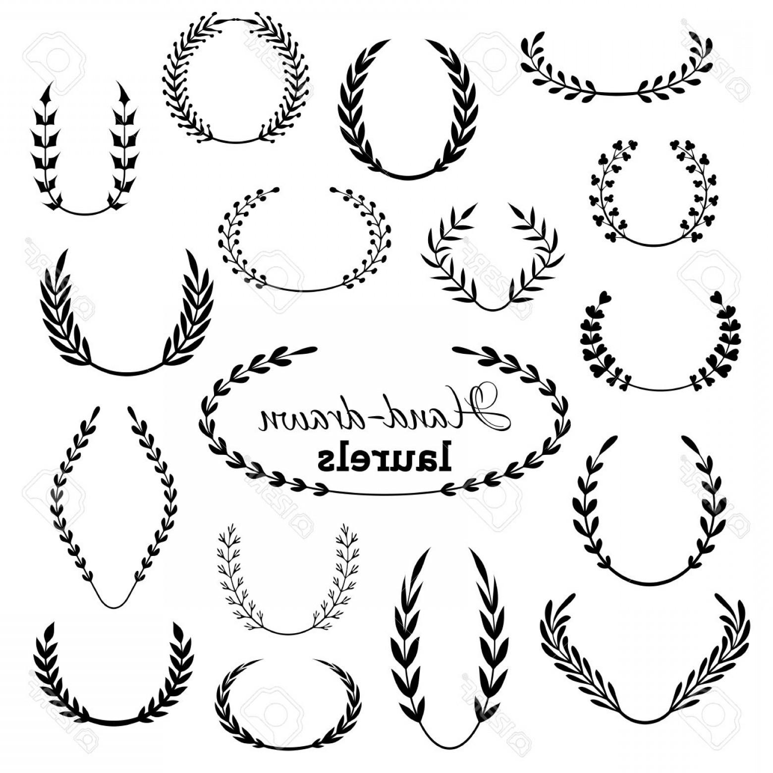 1560x1560 Photostock Vector Vector Set Of Laurel Wreaths Hand Drawn Design
