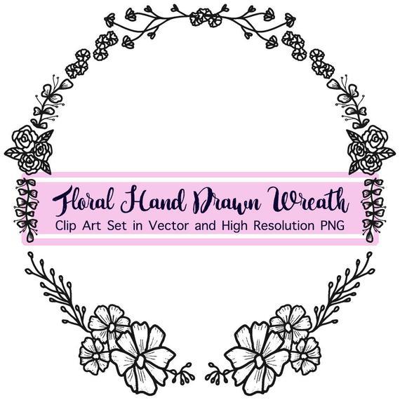 570x570 Summer Laurel Wreath Vector Hand Drawn Wreath Svg Vintage Etsy
