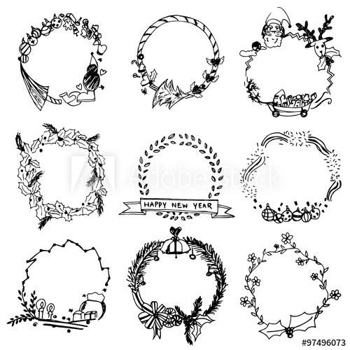 500x500 Wreaths Vector Set,free Hand Drawing Wreaths
