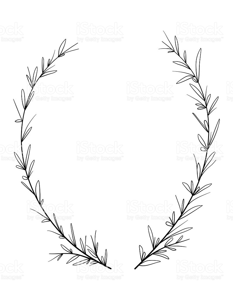 796x1024 Drawn Wreath Decorative