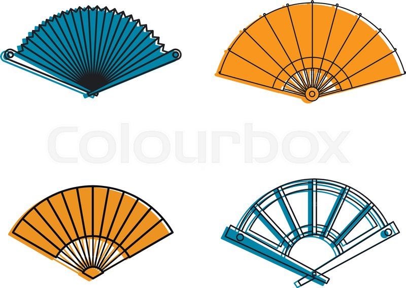 800x567 Hand Fan Icon Set. Color Outline Set Of Hand Fan Vector Icons For