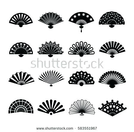 450x441 White Paper Fans Hand Paper Fan Vector Icons Or Beautiful Fans