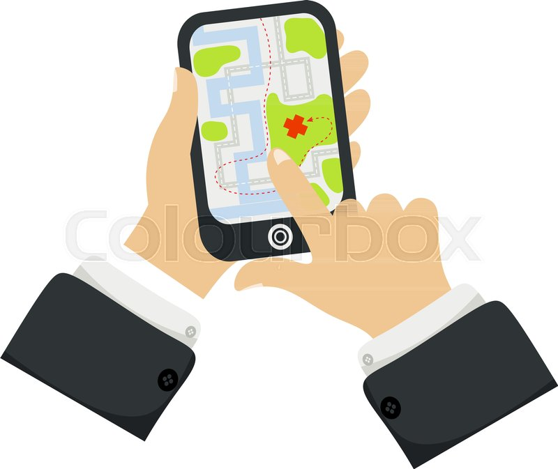 800x673 Hand Holding Phone With Map Mobile Gps Navigation And Tracking