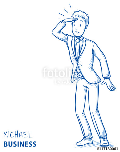 395x500 Young Man In Business Suit Holding A Hand Above His Eyes