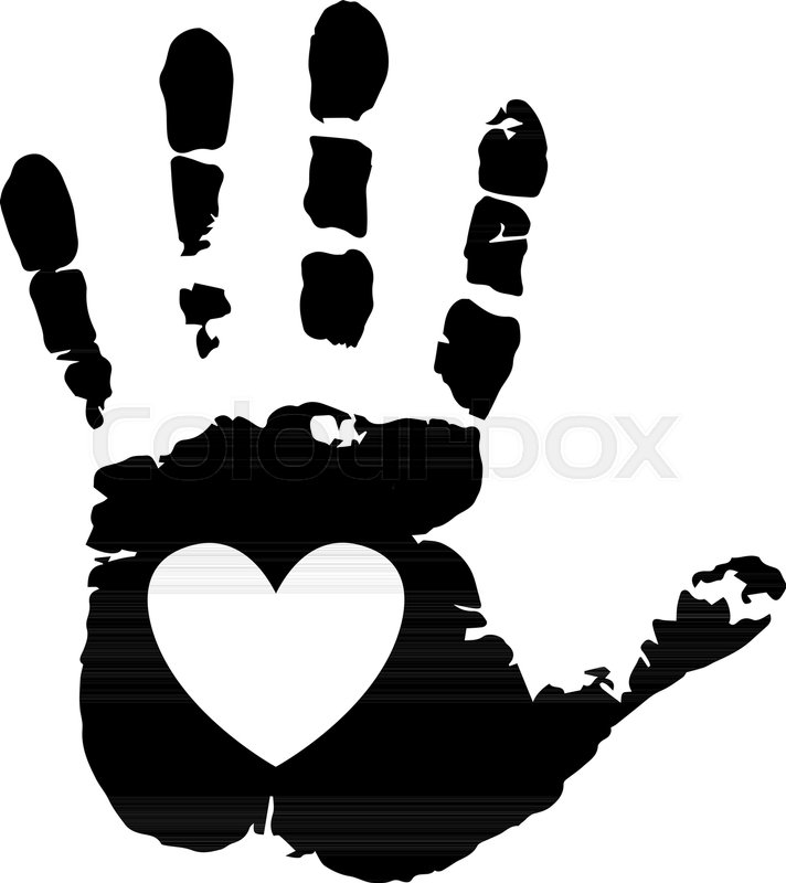 712x800 Black Silhouette Of Human Hand Print With Heart Symbol In Open