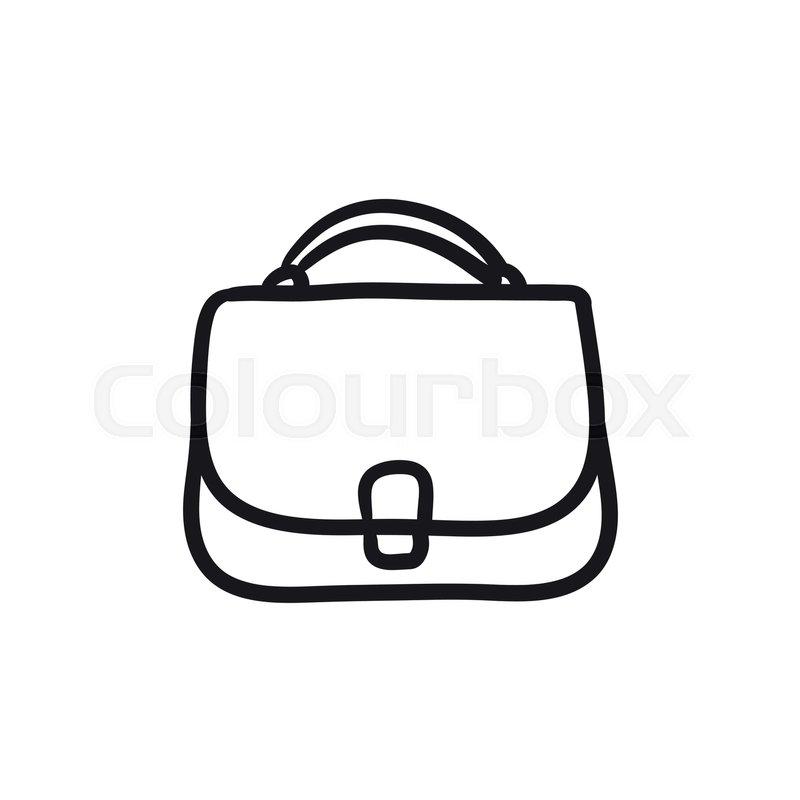 800x800 Female Handbag Sketch Icon For Web, Mobile And Infographics. Hand