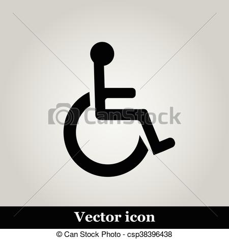 450x470 Disabled Handicap Icon On Grey Background, Vector Illustration.