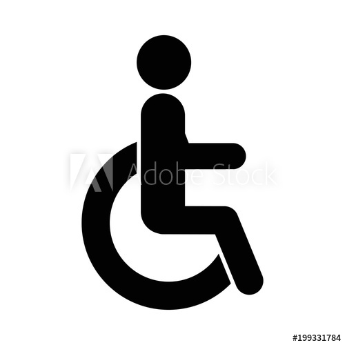 500x500 Disabled Handicap Icon. Vector Illustration