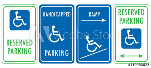 500x225 Handicapped Reserved Parking Signs. Wheelchair Ramp Access Sign