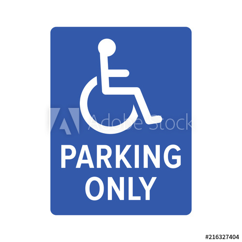 500x500 Wheelchair, Handicapped Or Accessibility Parking Only Sign Flat