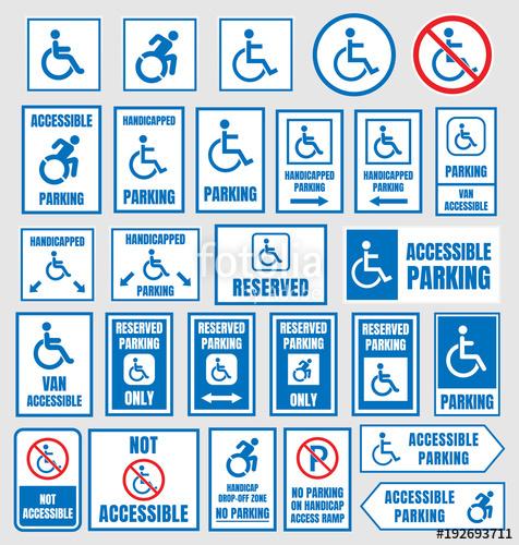 476x500 Disabled Parking Sign, Accesible Parking Symbols Set Stock Image