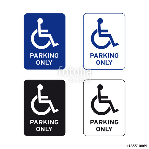 500x500 Disabled Handicap Wheelchair Parking Only Sign Set Stock Image