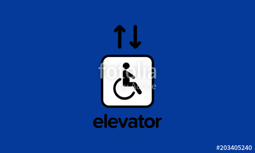 500x300 Handicap Elevator Sign Vector Illustration With Up And Down Arrows