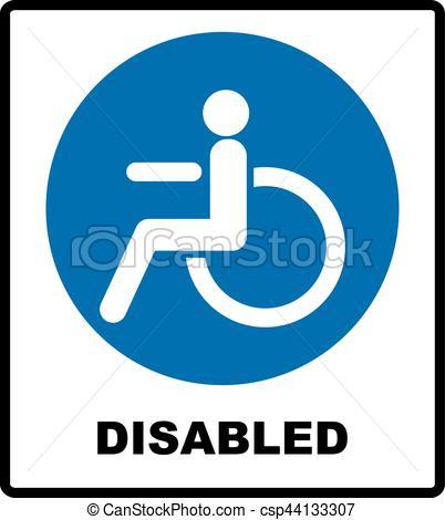 402x470 Notice Label. Vector Illustration. Disabled Handicap Icon In Blue