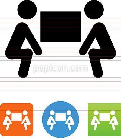 400x456 Team Lifting Heavy Object Icon Handicap Sign Vector
