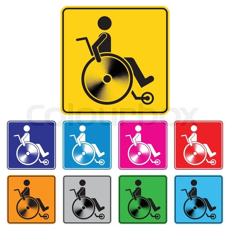 800x800 Disabled Person Warning Sign, Handicap Sign Set, Illustration