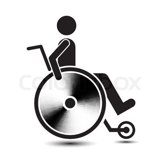 320x320 Disabled Person Warning Sign, Handicap Sign Type, Illustration
