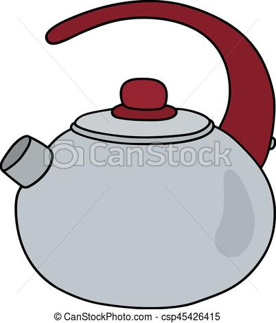 402x470 Steel Pot With A Red Handle. Hand Drawing Of A Steel Kettle With A