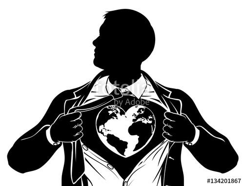 500x381 Globe Heart Business Superhero Tearing Shirt Chest Stock Image