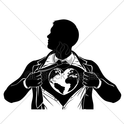 500x500 Globe Heart Business Superhero Tearing Shirt Chest Gl Stock Images