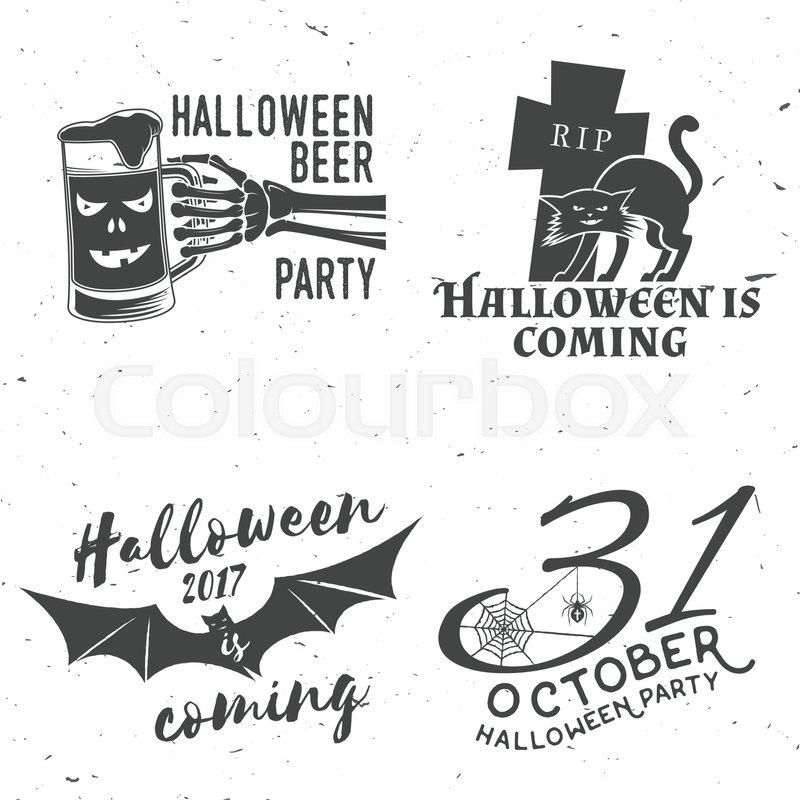 800x800 Set Of Halloween Vintage Badges. Typography Design With Skeleton