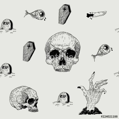 500x500 Vector Seamless Hand Drawn Vintage Horror Pattern With Skulls