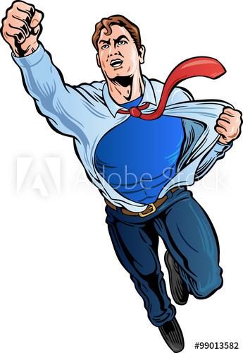 345x500 Businessman Superhero Ripping Shirt Off Revealing Logo