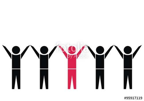 500x354 Figures, Black And Red Vector Icon. Hands Up. Stock Image And