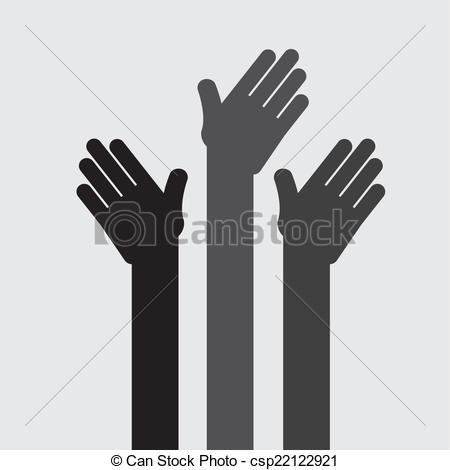 450x470 Hands Up Design , Vector Illustration.