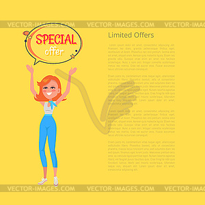 300x300 Limited Offers Poster With Woman Holding Hands Up