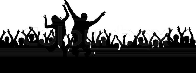 800x300 Applause People. Crowd Cheering. Hands Up Stock Vector Colourbox