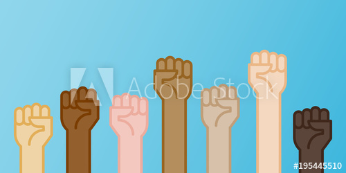 500x250 Multiracial Fists Hands Up Vector Illustration. Concept Of Unity