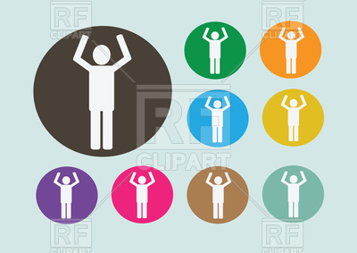 400x283 Pictogram Of Man With Hands Raised Up Vector Image Vector