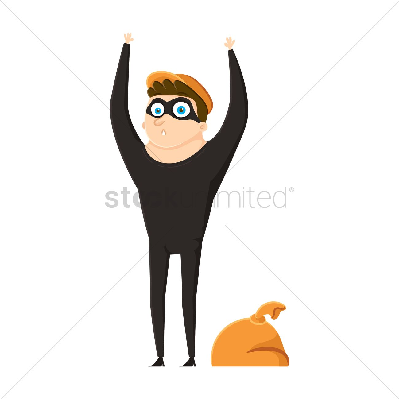 1300x1300 Thief With Hands Up Vector Image