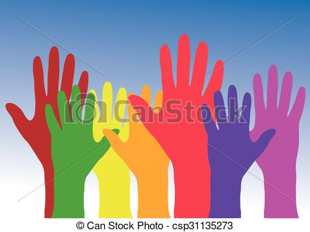 450x338 Vector, Colorful Hands Up Against Blue And White Background.