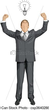 209x470 Vector Businessman With Hands Up. Vector Happy Businessman With