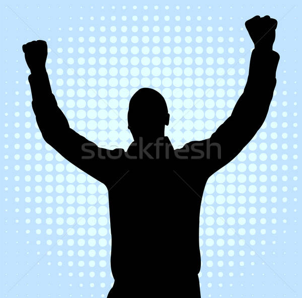 600x593 Happy Young Man With Hands Up Vector Illustration Bojana Ilic